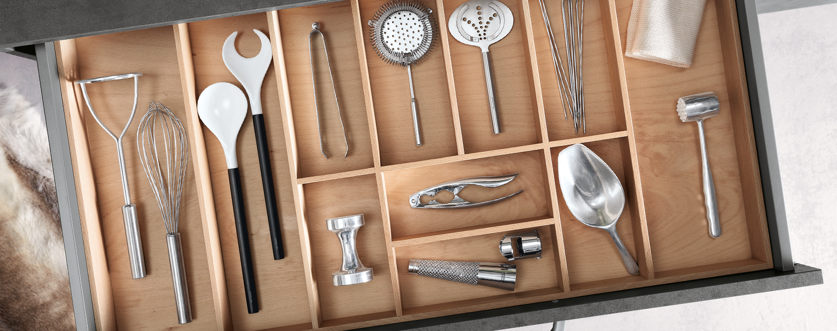 Kitchen Draw Set Out With Utensils