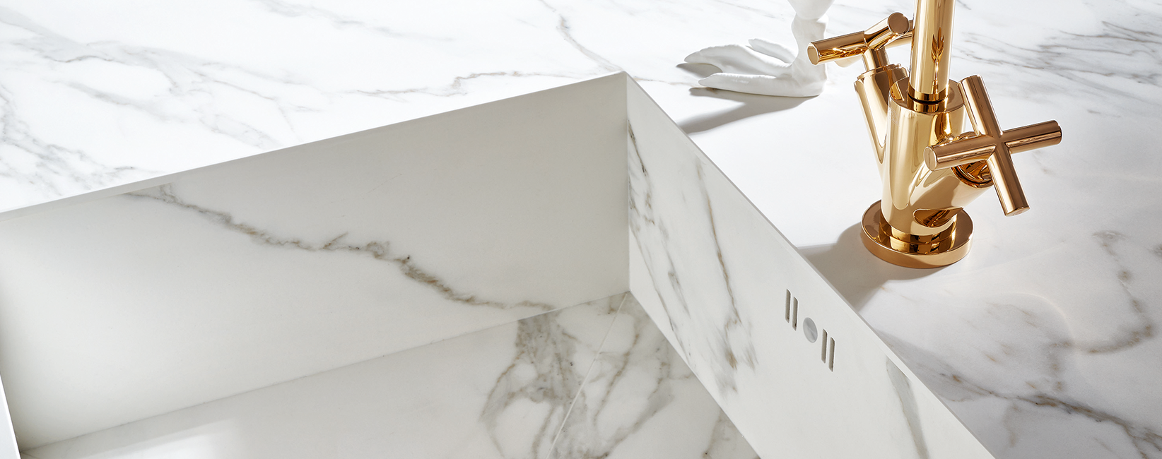 Marble Counter Top and Sink With Bronze Tap