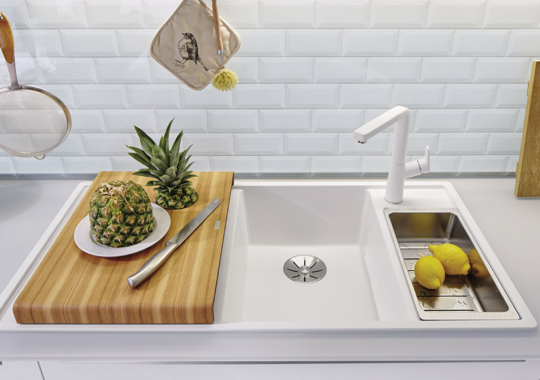 sink with chopping board