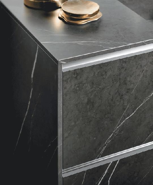 black marble kitchen work top