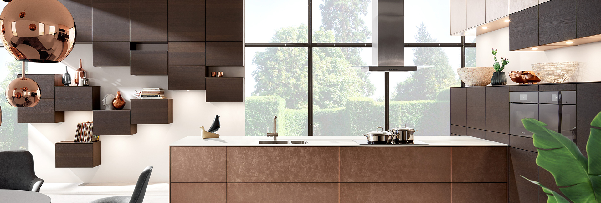 brown kitchen with brown work tops and rose gold lighting lamp